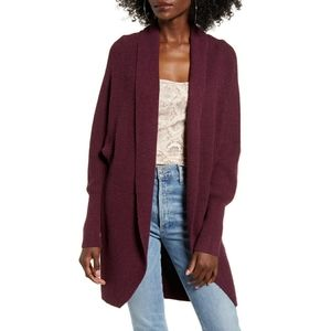 Leith Dolman Sleeve Long Maroon Cardigan
